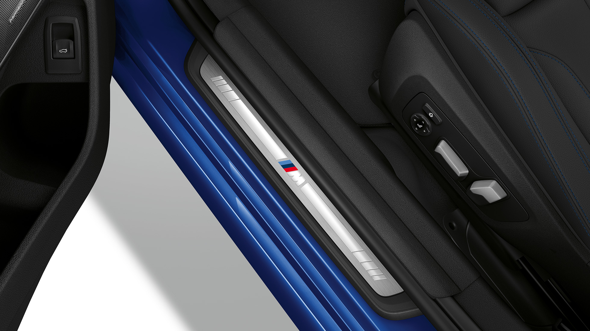 Top view of the door sill of the BMW 3 Series Sedan with Model M Sport features.