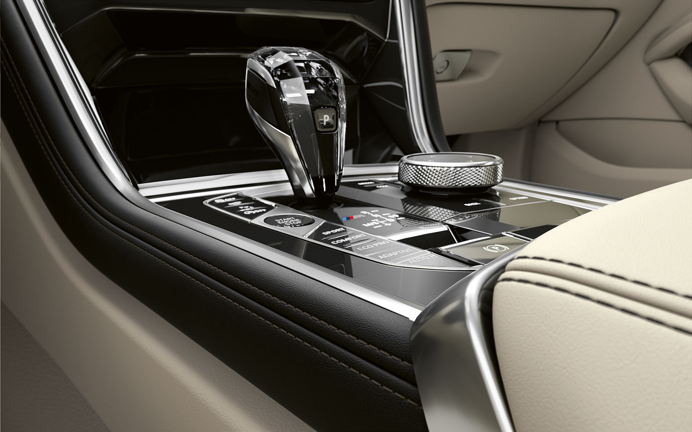 Close-up of the middle console of BMW 8 Series Coupé.